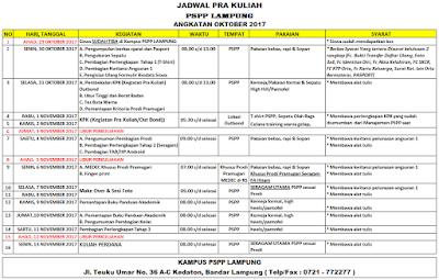 Jadwal Pra Kuliah Oktober 2017 PSPP Lampung
