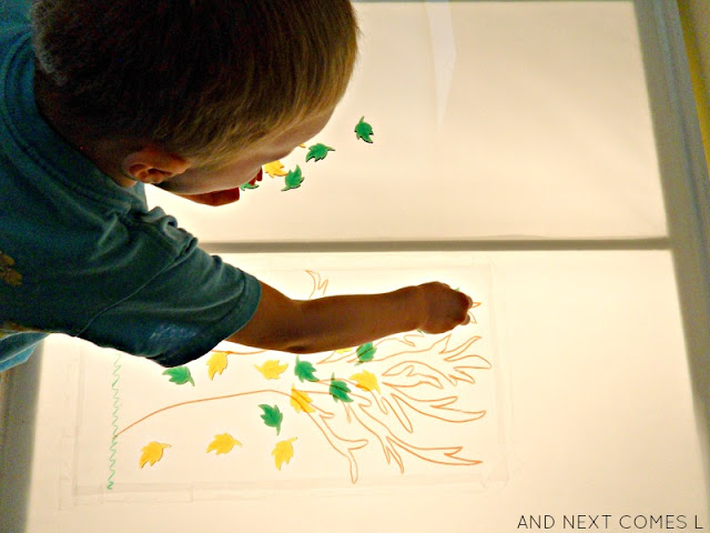 Autumn light table activity for preschool