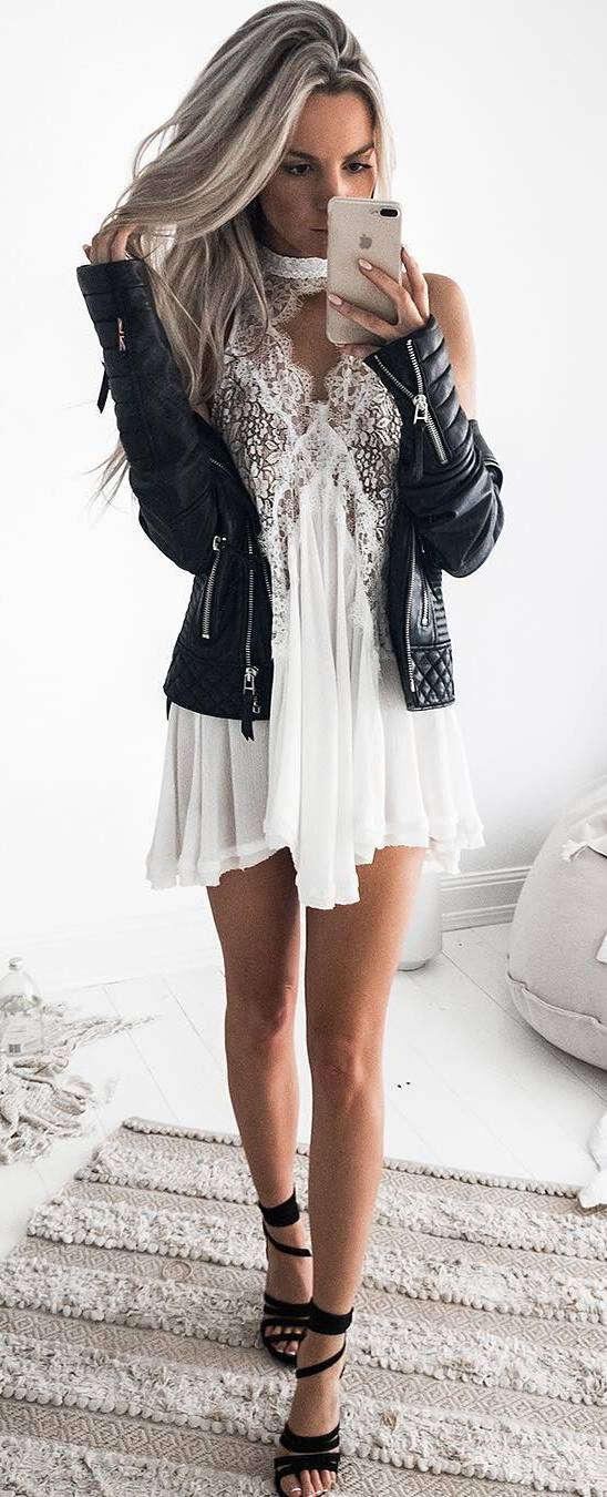 white and black trends / moto jacket + dress + heels