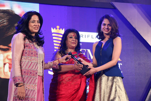 (From left) Designer Deepika Govind, artist Bipasha Gupta presnenting the award to chess champion Tania Sachdev at Femina Power List Award North 2017