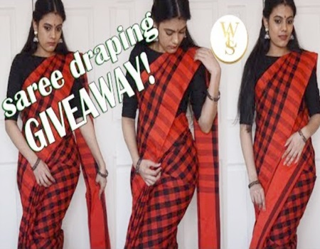 How to drape a saree   Explained in detail   GIVEAWAY (CLOSED)   With Love Sindhu