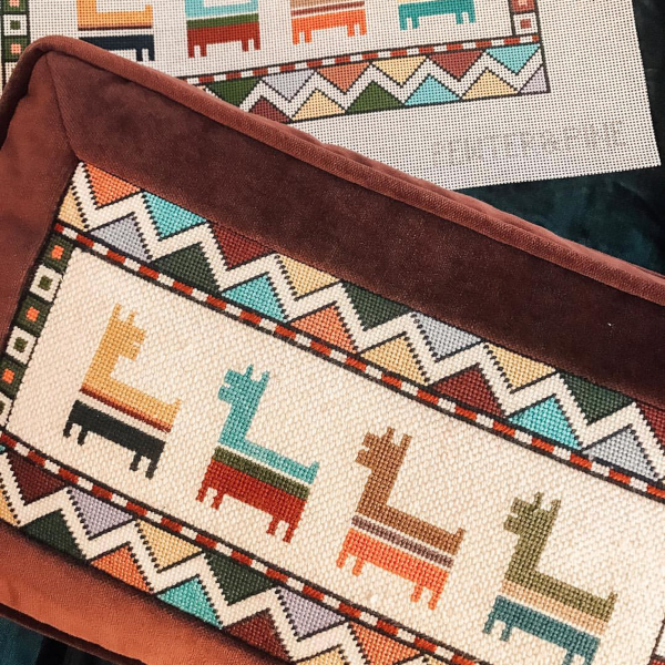 Geometric, navajo llama canvas and pillow by Pewter & Pine