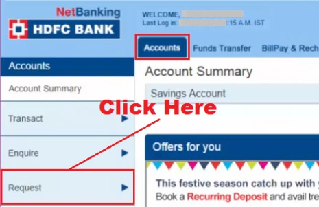 how to request for cheque book in hdfc bank netbanking