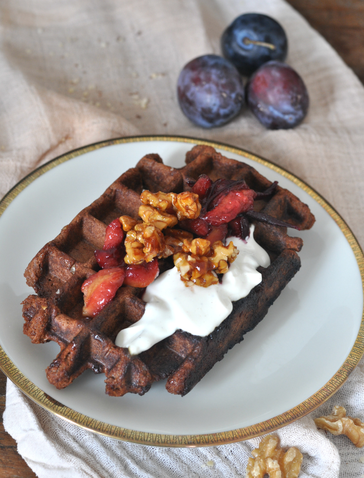 Belgian Waffels with nuts and chocolate, a glutenfree treat for those rainy summer days