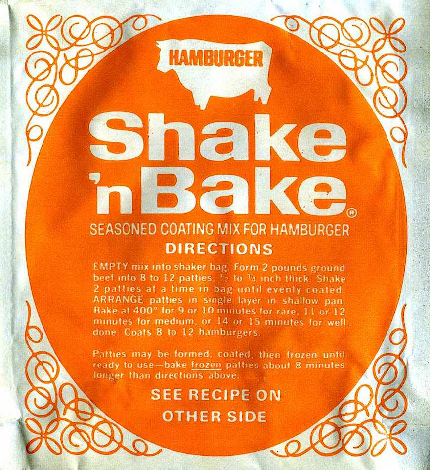 a 1970s orange Shake'nBake seasoned coating mix package photograph