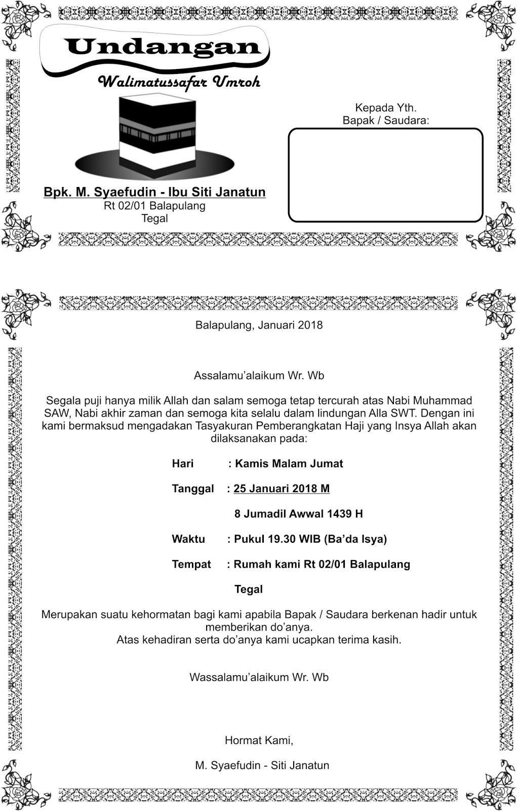 Contoh Undangan Walimatul Umroh : contoh, undangan, walimatul, umroh, Undangan, Walimatussafar, Umroh, Document