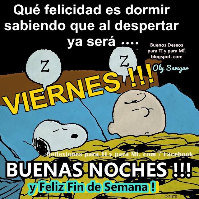 Qué felicidad es dormir  sabiendo que al despertar ya será.... VIERNES !!!  BUENAS NOCHES !!! y Feliz Fin de Semana!