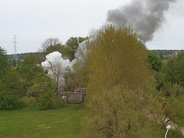 Ugunsgrēka dūmi ceļas virs kokiem