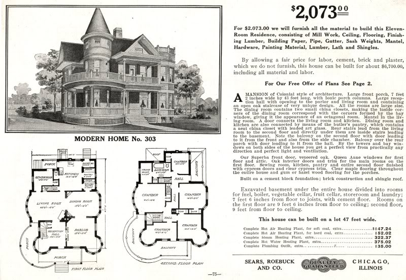 Ad orientem sears sold 70 000 homes from their catalog for Victorian style kit homes