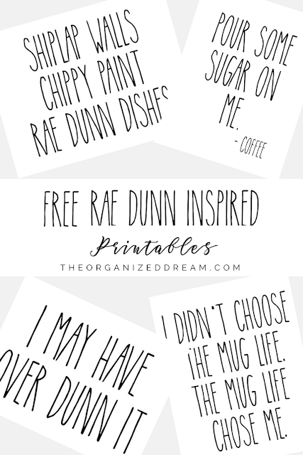 Rae Dunn inspired printables for craft projects and home decor for free.