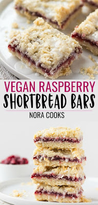 Vegan Raspberry Bars are made with a coconut oil shortbread crust and topping, made with only 5 ingredients and 1 bowl! #vegan #plantbased #dessert