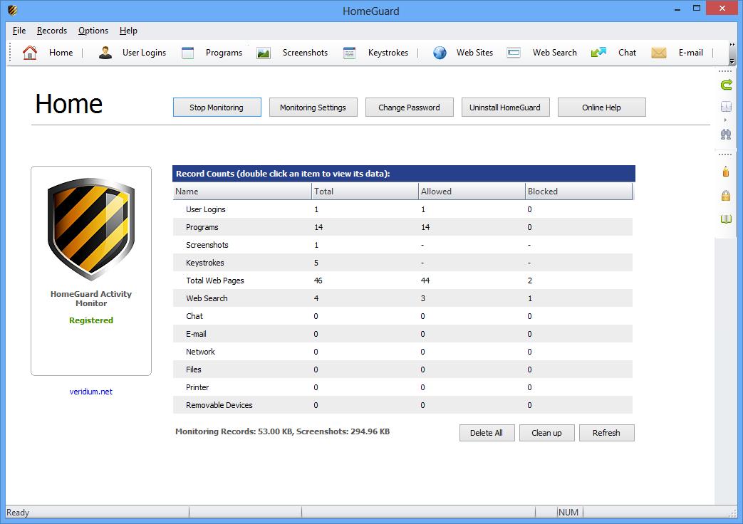 برنامج مميز لمراقبة ورصد ومنع جميع الانشطة علي شبكة الانترنت HomeGuard Activity Monitor 1.8.3
