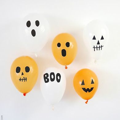 DIY Halloween Balloons with Black Electrical Tape