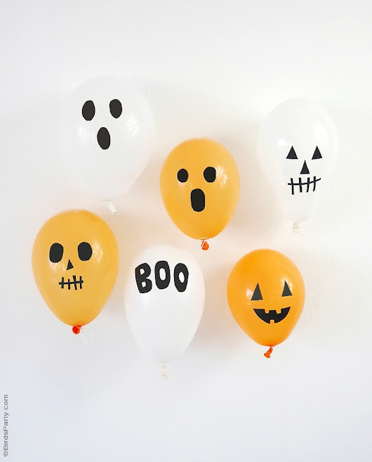 DIY Halloween Balloons with Black Electrical Tape | Party Ideas | Party Printables
