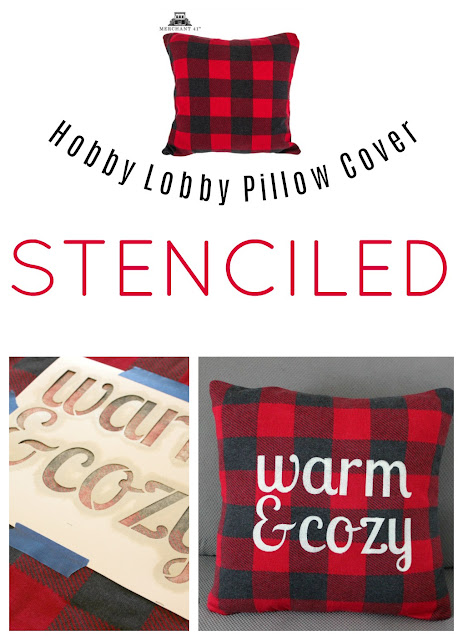 Hobby Lobby Buffalo Checked Pillow Cover With DIY Stencil #buffalocheck #stencil #pillowcover #hobbylobby