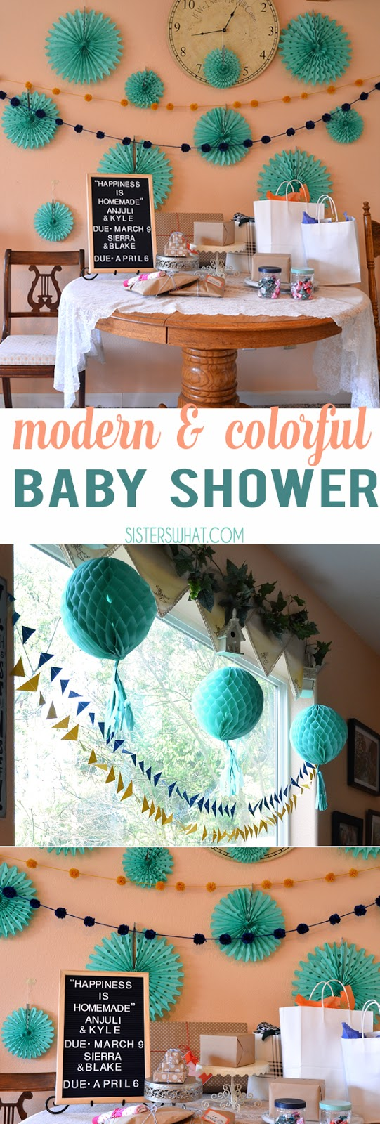 a colorful baby shower decorations using tissue paper fans and pom pom garlands perfect for a modern baby shower