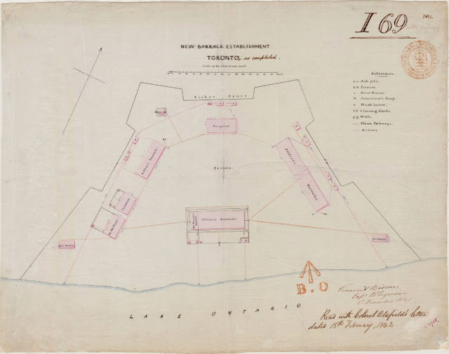 Map: 1841 Biscoe: New Barrack Establishment, Toronto, as Completed