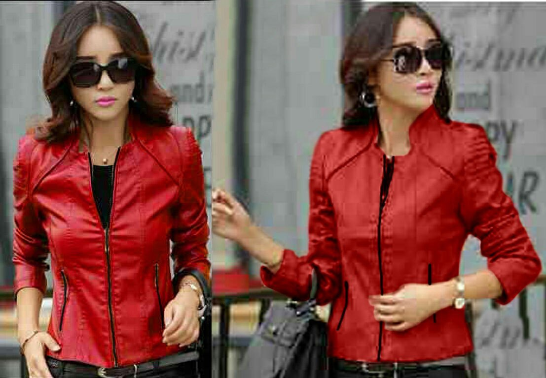 Jual Jacket / Sweater Jaket Red Hilda (Semi Kulit) - 13318