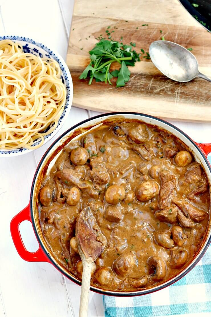 Creamy Beef Stroganoff with Linguini
