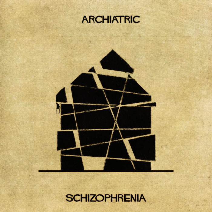05-Schizophrenia-Federico-Babina-ARCHIATRIC-Mental-Health-Illustrations-Paired-with-Architecture-www-designstack-co