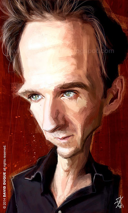 """caricature of """"Ralph Fiennes"""" by David Duque"""