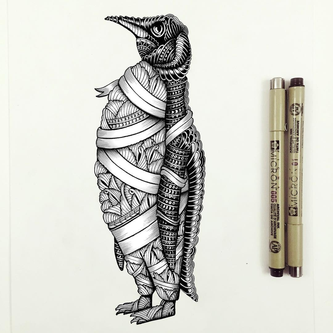 15-Penguin-Faye-Halliday-Haathi-Detailed-Drawings-Representing-Complex-Animal-www-designstack-co