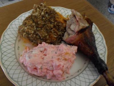 Smoked Turkey, Pumpkin Casserole, Fresh Berry Fluff Salad