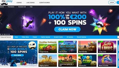 sòng bạc Mr.Play Casino có hệ thống trò chơi phong phú