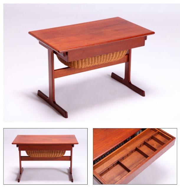 design nórdico, mesa de costura, teca, Kai Kristiansen, Dinamarca, anos 60