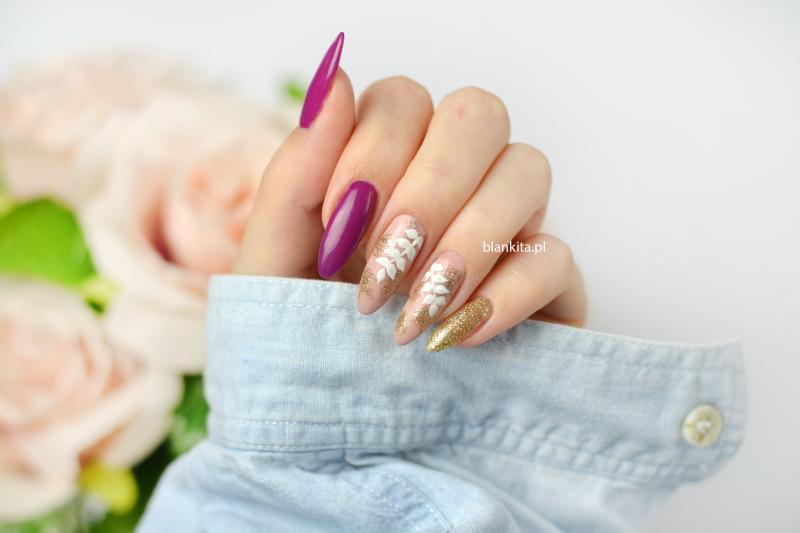 biale listki, galazki lisci paznokcie, jesienne paznokcie, semi art
