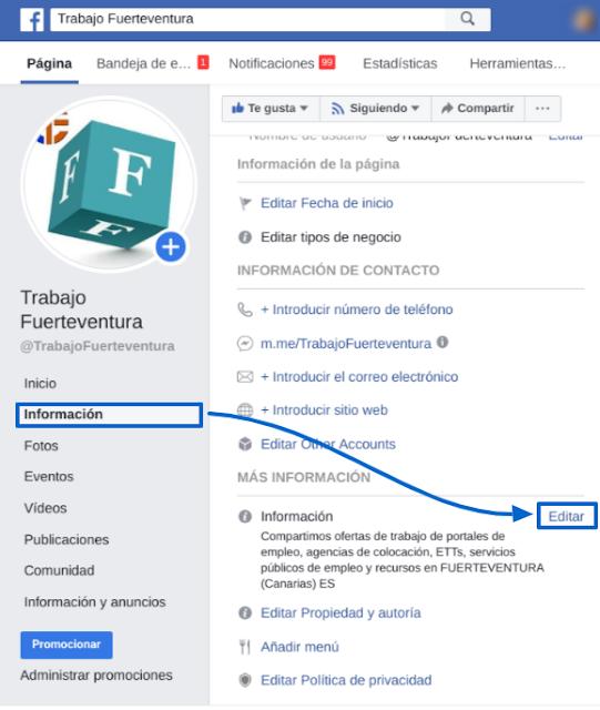 Pestañas para editar la información de la página de Facebook para mejorar la presencia en los resultados de búsquedas