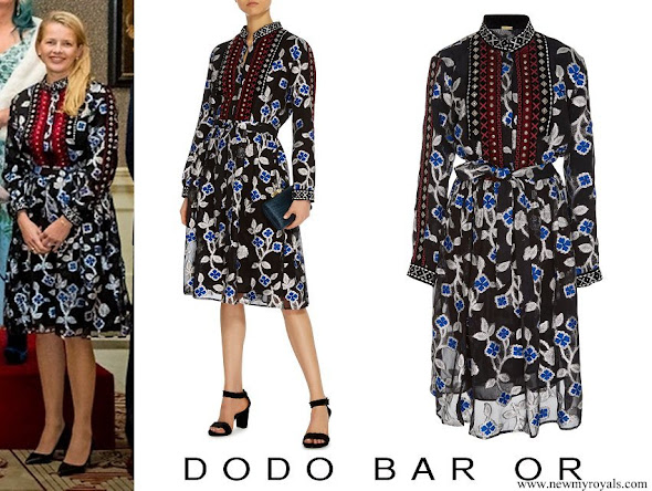 Princess Mabel wore Dodo Bar Or Loren Velvet-trimmed Floral Chiffon Dress