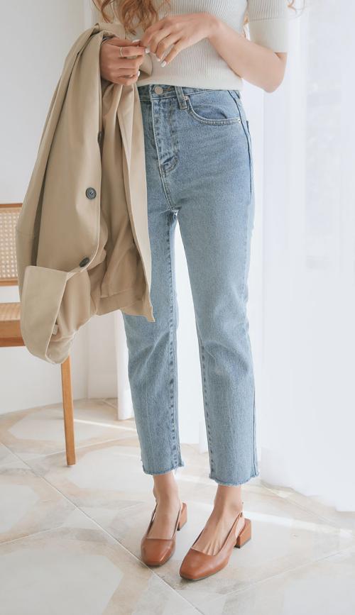 Cropped Raw Hem Slim Jeans