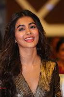 Pooja Hegde looks glamarous in deep neck sleevless short tight golden gown at Duvvada Jagannadham thank you meet function 147.JPG