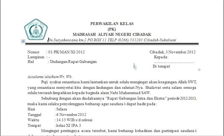Contoh Surat Undangan Gereja Surat 33