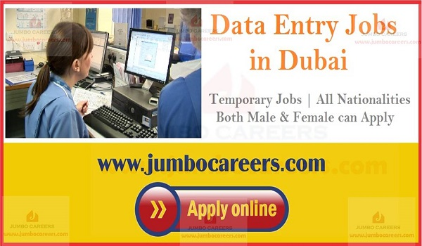 Data entry jobs in Dubai, Sponsored visa jobs in Dubai,