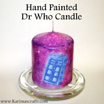 hand painted dr who candle tardis