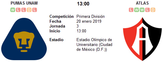 Pumas UNAM vs Atlas en VIVO