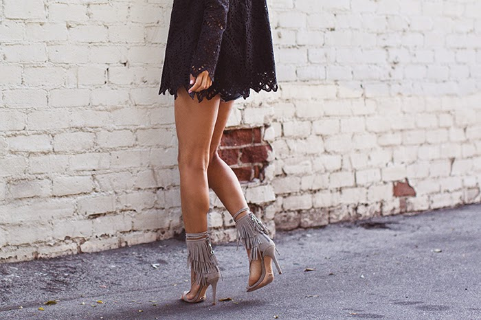 Aimee Song - Schutz Suede Fringe Sandals / Bell Sleeves 70's Style