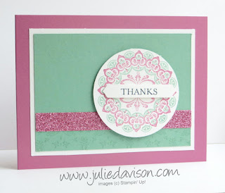 Stampin' Up! Make a Medallion + glimmer paper ~ 2017 Sale-a-bration ~ www.juliedavison.com