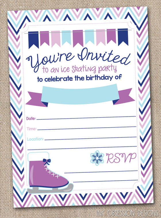 Ink Obsession Designs Ice Skating Birthday Party