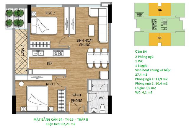 Căn hộ B4 diện tích 62,21 m2 tầng 4-15 Valencia Garden