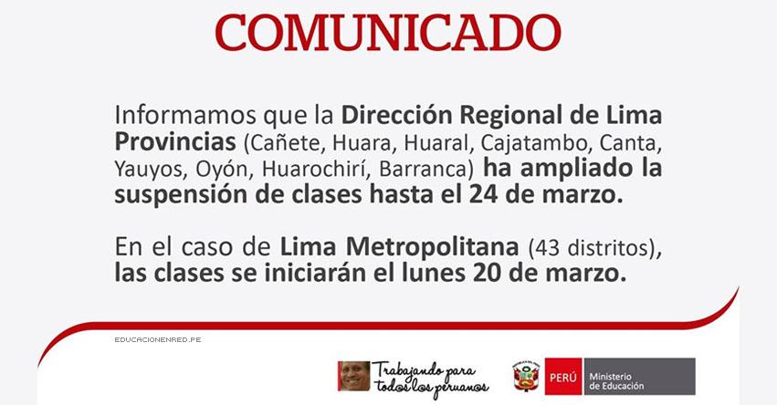 COMUNICADO MINEDU: Amplían Suspensión de Clases hasta el 24 de Marzo en Lima Provincias - DRELP - www.minedu.gob.pe