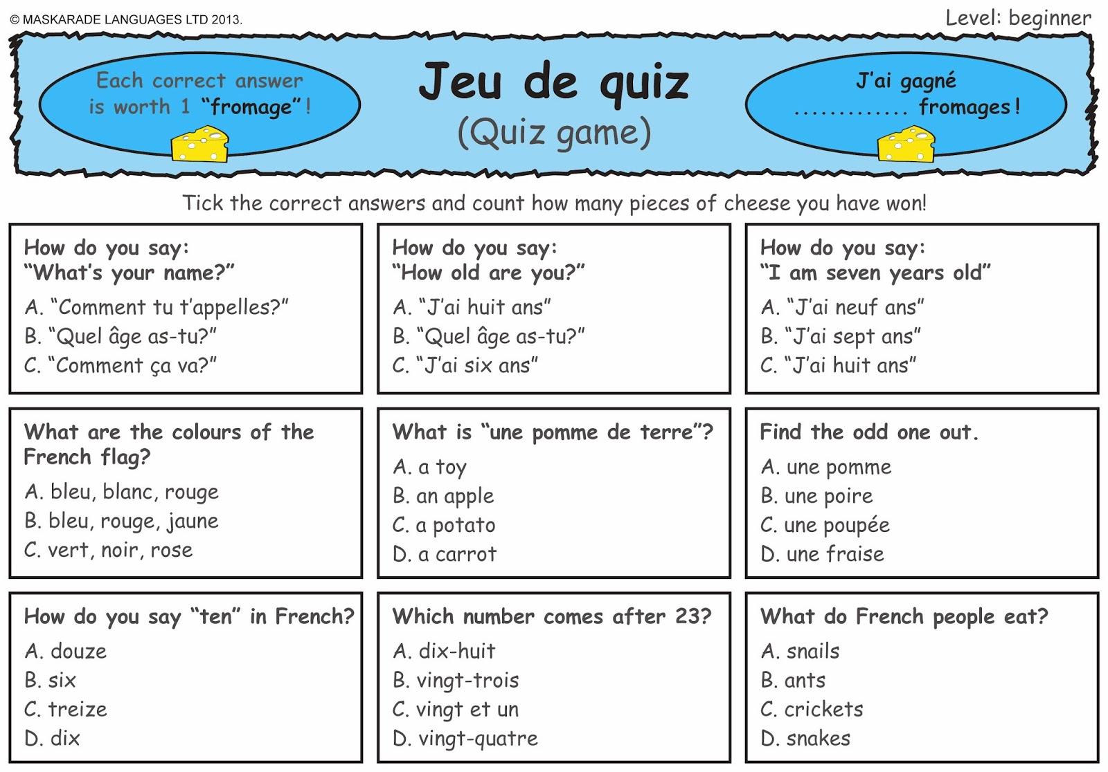 Printables Learning French Worksheets printables french worksheets for beginners safarmediapps maskarade languages quiz level beginner bitesize ks2 1 learn with
