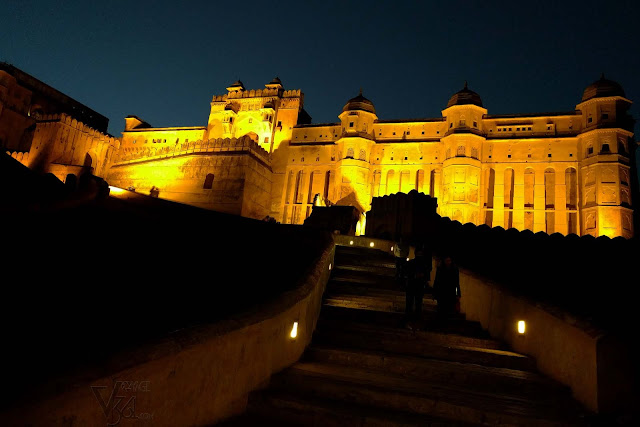 Amber Fort looks impressive when its lit up during night