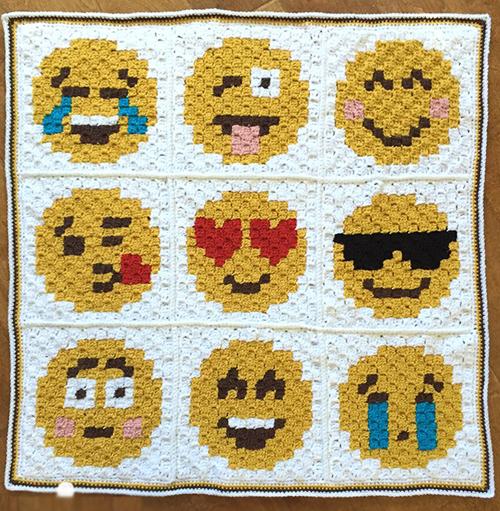 Cute C2C Crochet Emoji Afghan - Free Pattern