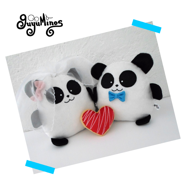 Pareja de Pandas con  mensaje bordado, para celebrar una maravillosa Boda, guyuminos