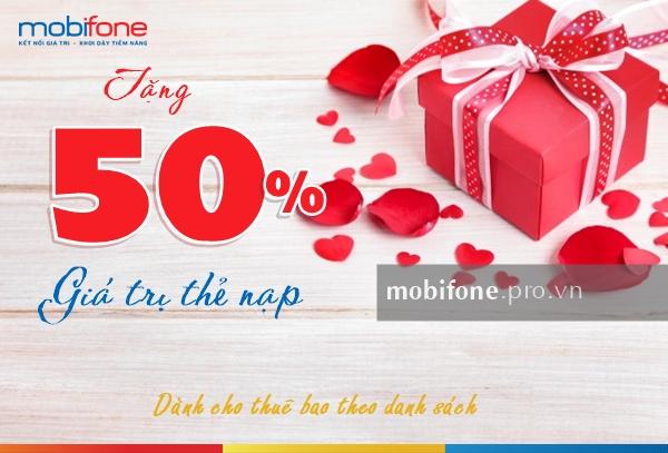 Mobifone khuyến mãi 50% thẻ nạp cục bộ