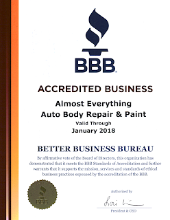 2017 BBB Better Business Bureau Accreditation for Almost Everything Autobody