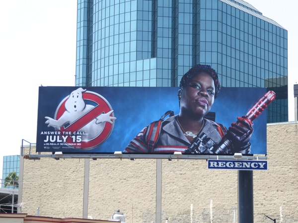 Leslie Jones Ghostbusters movie billboard